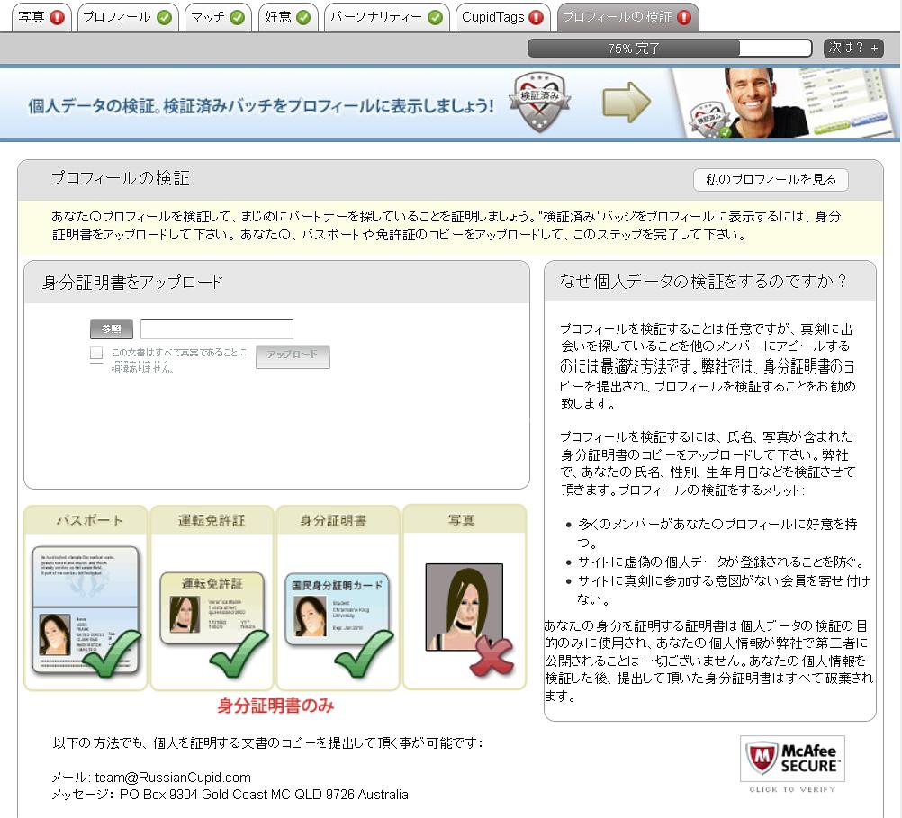 プロフィールの検証画面です。