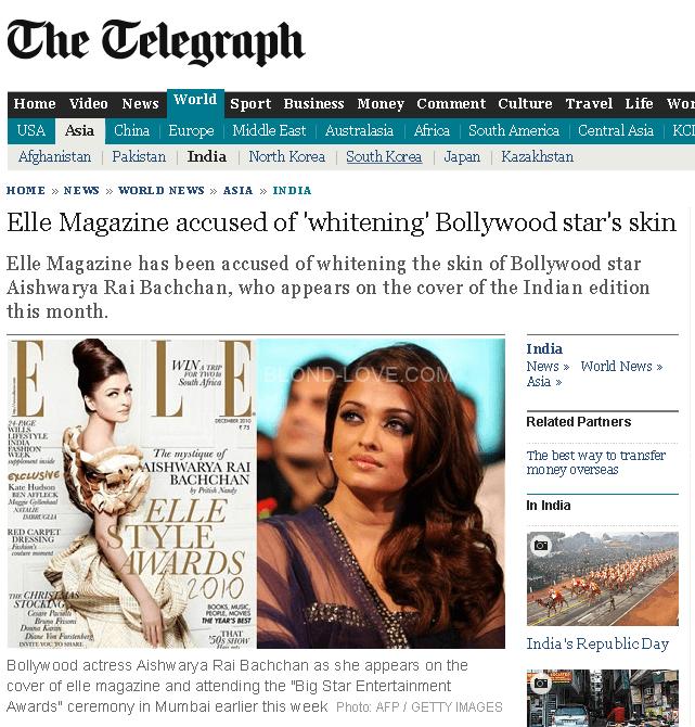 雑誌のエルがインド女優アイシュワリヤー・ラーイの肌を白く加工して問題になった