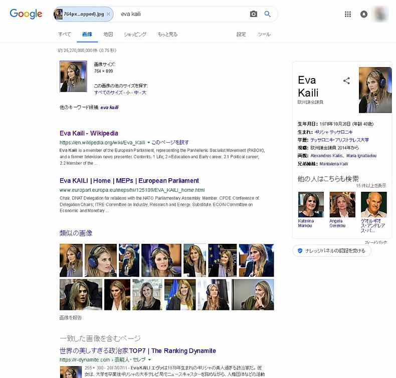 欧州議会議員のEva Kaili氏の写真をGoogle画像検索した結果